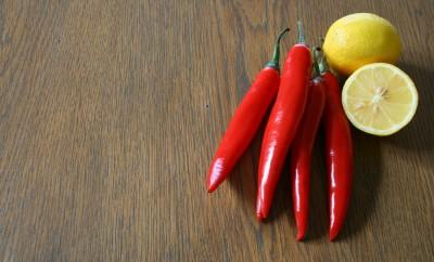 Cayenne peppers and lemon