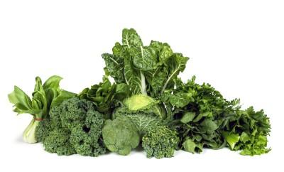 A pile of leafy green vegetables
