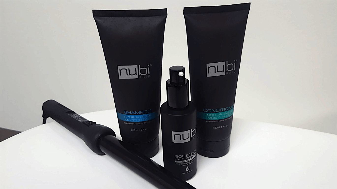 Nubi Hair shampoo, conditioner, hair serum, and Grande Curler - product review